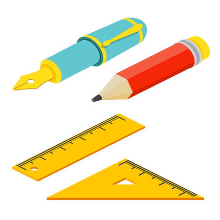 ball pens stationery: Isometric fountain pen, rulers and pencil on white background. For web design and application interface, also useful for infographics.Vector illustration.