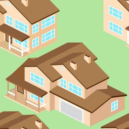 suburban: Seamless pattern with Isometric suburban american house.Vector dark grey. Illustration