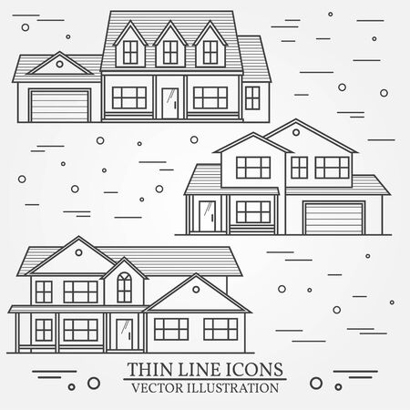 real renaissance: Set of vector thin line icon  suburban american houses. For web design and application interface, also useful for infographics. Vector dark grey. Vector illustration. Illustration