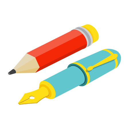 Isometric fountain pen and pencil on white background. For web design and application interface, also useful for infographics.Vector illustration.