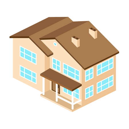 real renaissance: Iisometric suburban american house. For web design and application interface, also useful for infographics. Vector modern illustration. Illustration