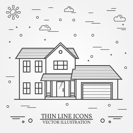 single dwelling: Vector thin line icon  suburban american house. For web design and application interface, also useful for infographics. Vector dark grey. Vector illustration. Illustration