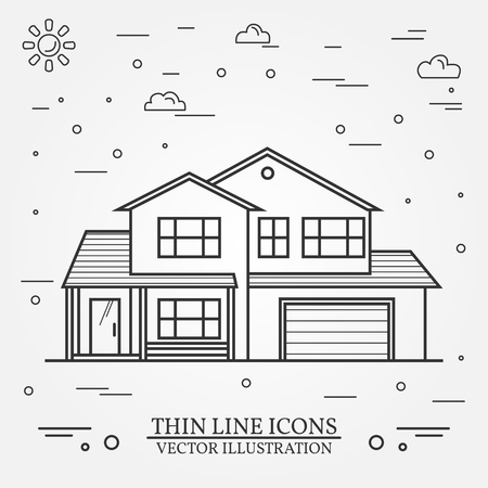 Vector thin line icon  suburban american house. For web design and application interface, also useful for infographics. Vector dark grey. Vector illustration.  イラスト・ベクター素材