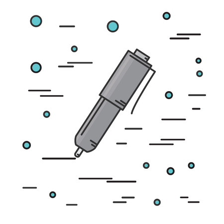 ball pen: Ball pen isolated Icon. Think line icon. Vector illustration.