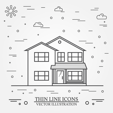 provincial: Vector thin line icon  suburban american house. For web design and application interface, also useful for infographics. Vector dark grey. Vector illustration. Illustration