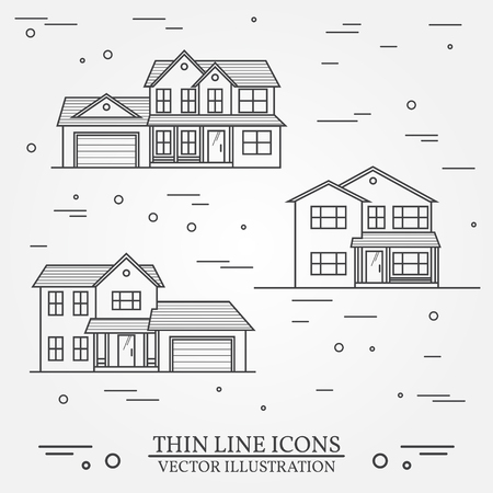 residential: Set of vector thin line icon  suburban american houses. For web design and application interface, also useful for infographics. Vector dark grey. Vector illustration. Illustration