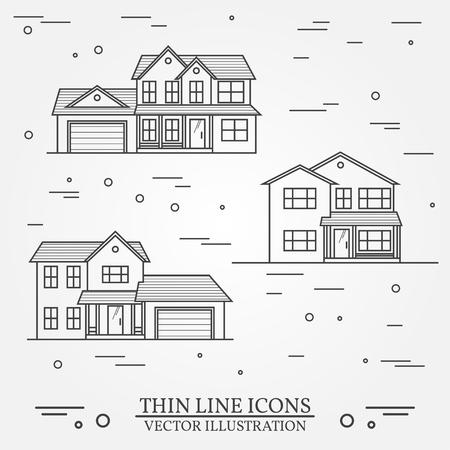 Zestaw ikon wektorowych cienkich linii podmiejskich domów amerykańskich. Do projektowania stron internetowych oraz interfejsu aplikacji, także przydatny dla infografiki. Wektor ciemnoszary. ilustracji wektorowych. Ilustracje wektorowe