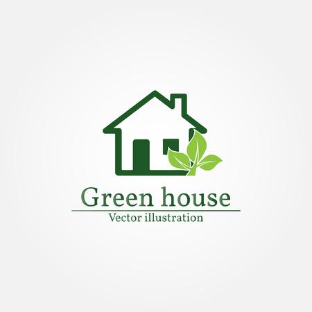 house logo: Green house logo. Energy saving concept. Vector illustration. Illustration