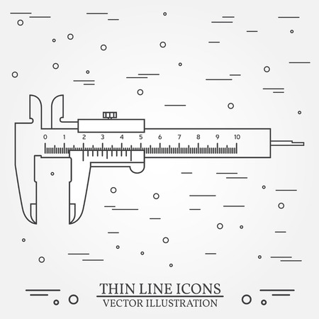 vernier: Vector thin line icon  calipers. For web design and application interface, also useful for infographics. Vector dark grey. Vector illustration.