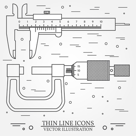micrometer: Set vector thin line icons caliper and  micrometer. For web design and application interface, also useful for infographics. Vector dark grey. Vector illustration.