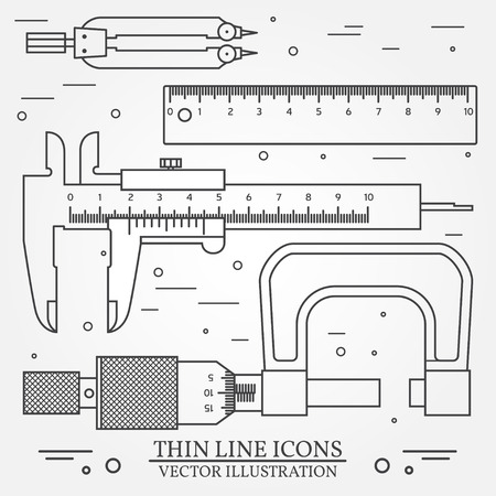 calliper: Set vector thin line icons caliper, ruler, pair of compass  and  micrometer. For web design and application interface, also useful for infographics. Vector dark grey. Vector illustration.