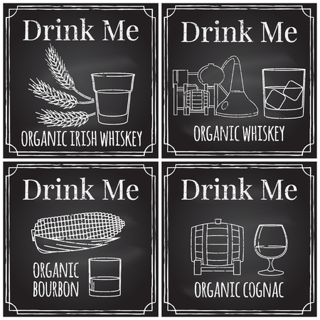 drink me: Set elements on the theme of the restaurant business.  Chalk drawing on a blackboard. Logo, branding,  logotype,  badge  with  ears of barley, wheat and a glass of Irish whiskey,  brandy barrel and a glass of cognac, glass of beer, with corn and a glass o