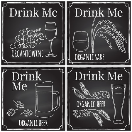 drink me: Set elements on the theme of the restaurant business.  Chalk drawing on a blackboard. Logo, branding,  logotype,  badge  with   grapes, leaf  and glass of wine, hops and a glass of beer,  rice plant and a glass of sake .  Vector illustration.