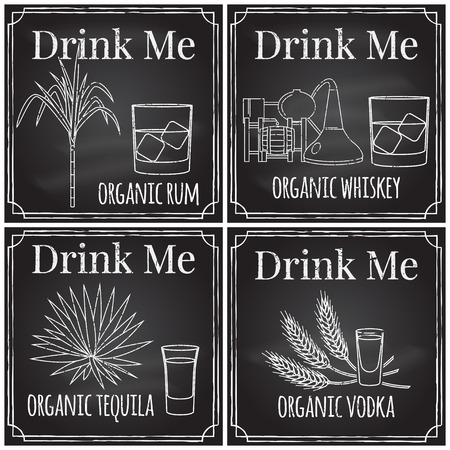 distilling: Set elements on the theme of the restaurant business.  Chalk drawing on a blackboard. Logo, branding,  logotype,  badge  with  sugar cane and a glass of rum, whiskey distilling process and a glass of whiskey with ice, agave and a glass of tequila,  spikes