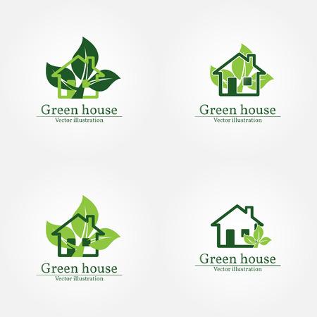 house logo: Green house logo. Energy saving concept. Vector illustration.Vector logo template.