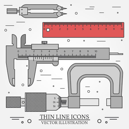 micrometer: Set vector thin line icons caliper, ruler, pair of compass  and  micrometer. For web design and application interface, also useful for infographics. Vector dark grey. Vector illustration.