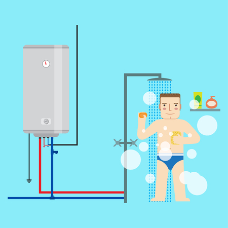 electric: Electric water heater and man in the bathroom taking a shower. Flat icon for  web design and application interface, also useful for infographics. Vector illustration.