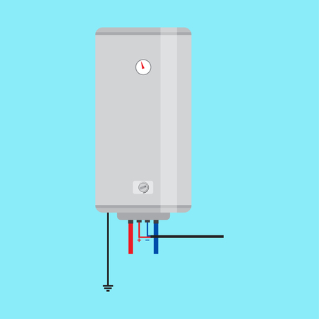 temp: Electric water heater. Flat icon for  web design and application interface, also useful for infographics. Vector illustration.