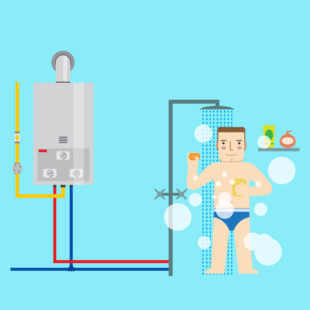 Gas water heater and man in the bathroom taking a shower. Flat icon for  web design and application interface, also useful for infographics. Vector illustration. Иллюстрация