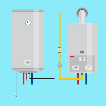 가스 온수기 및 전기 온수기의 집합입니다. 웹 디자인 및 응용 프로그램 인터페이스 용 평면 아이콘으로 infographics에도 유용합니다. 벡터 일러스트 레