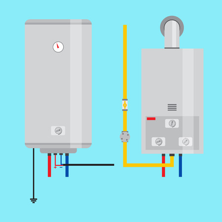 Set of gas water heater and electric water heater. Flat icon for  web design and application interface, also useful for infographics. Vector illustration. Иллюстрация
