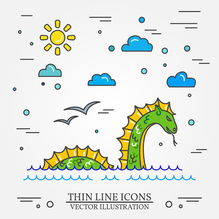 ness: Loch Ness monster logo. Thin line icon for  web design and application interface, also useful for infographics. Vector illustration. Illustration