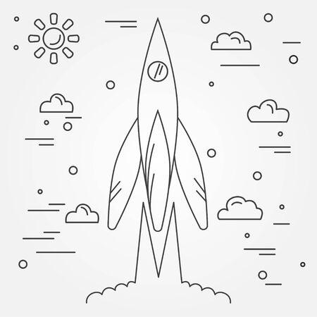 space flight: Startup. Rocket thin line icon. Human Space Flight. Vector illustration.
