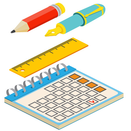 colored background: Isometric fountain pen,pencil, calendar and ruler on white background. For web design and application interface, also useful for infographics.Vector illustration.