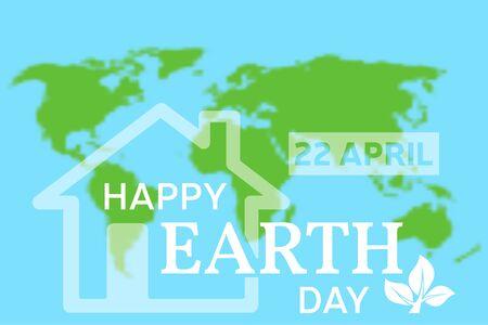 happy planet earth: Feliz tarjeta de felicitaci�n del d�a de la Tierra. Ilustraci�n del vector con la casa, el planeta y el �rbol verde.