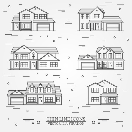 single dwellings: Set of vector thin line icon  suburban american houses. For web design and application interface, also useful for infographics. Vector dark grey. Vector illustration. Illustration