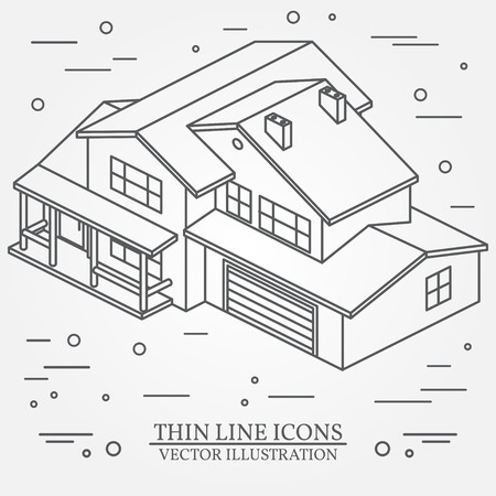single dwellings: Vector thin line icon isometric suburban american house. For web design and application interface, also useful for infographics. Vector dark grey.