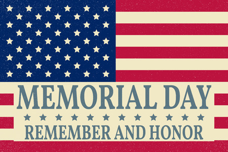 ww2: Happy Memorial Day background template. Happy Memorial Day poster. Remember and honor on top of American flag. Patriotic banner. Vector illustration.