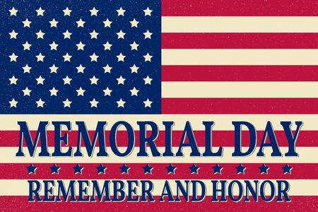 Gelukkig Memorial Day achtergrond sjabloon. Gelukkig poster Memorial Day. Herinner en eer op de top van de Amerikaanse vlag. Pattic banner. Vector illustratie.