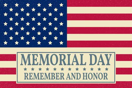 Plantilla feliz fondo del Memorial Day. cartel de Feliz Día de los Caídos. Recordar y honrar en la parte superior de la bandera estadounidense. Pattic bandera. Ilustración del vector.