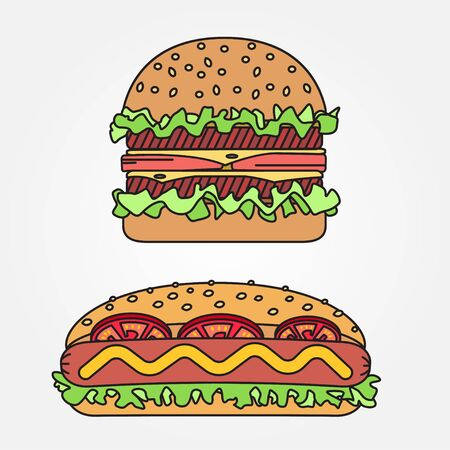 ballpark: Vector thin line icon  hot dog and burger. For web design and application interface, also useful for infographics. Vector dark grey. Vector illustration.