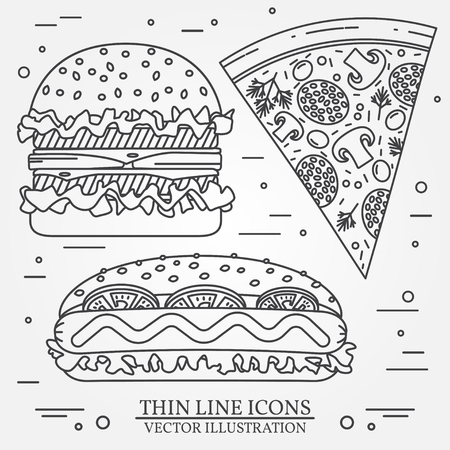 ballpark: Vector thin line icon pizza,  hot dog and burger . For web design and application interface, also useful for infographics. Vector dark grey. Vector illustration.