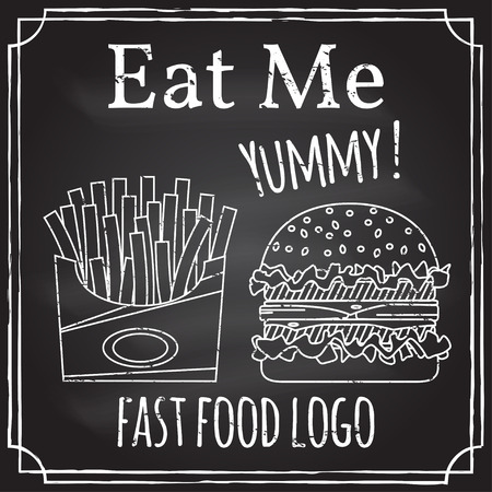 eat me: Eat me. Elements on the theme of the restaurant business. Illustration