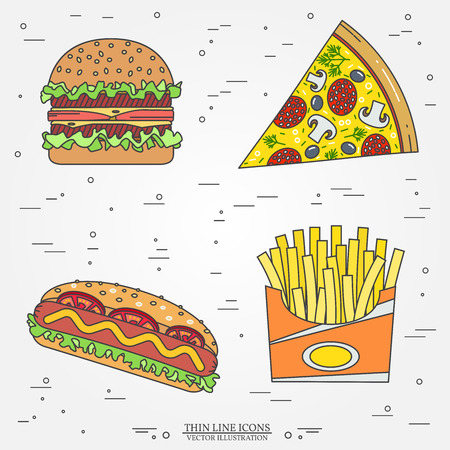 dinnertime: Vector thin line icon pizza, fries,  hot dog and burger . For web design and application interface, also useful for infographics. Vector illustration. Illustration