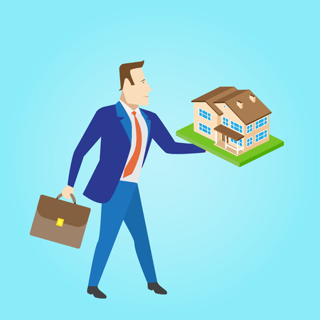 landlord: Real estate agent with a house model for sale. Vector illustration.