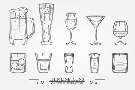 cognac: Set drink alcohol  glass for beer, whiskey, wine, tequila, cognac, champagne, brandy, cocktails, liquor. Vector illustration isolated on white background. Illustration