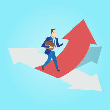 select: Businessman standing on three ways arrows for selection. Business way select concept. Vector illustration.