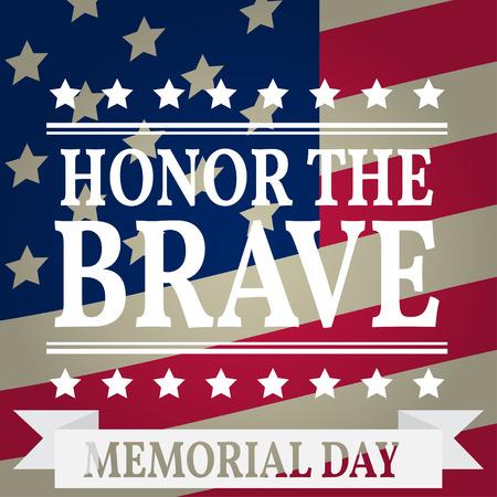 Buon Memorial Day. Biglietto di auguri del Memorial Day. Illustrazione di vettore di Memorial Day. Bandiera americana.