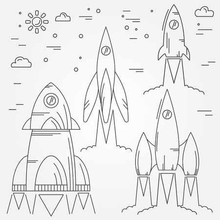 space flight: Set rockets thin line icon. Human Space Flight. Vector illustration. For web design and application interface, also useful for infographics.