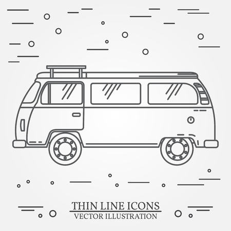 omnibus: Travel bus family camper thin line. Traveler truck tourist bus outline icon. RV travel bus grey and white vector pictogram isolated on white. Summer bus family travel concept. Vector illustration.