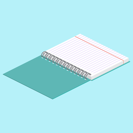 Isometric illustration on a blue background with the image of open spiral notebook. Vector illustration. Spiral binding.