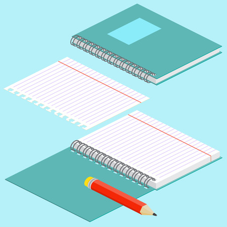 teared: Isometric illustration on a blue background with the image of notebook, pencil, open spiral notebook and lined paper. Vector illustration. Spiral binding and notebook paper.