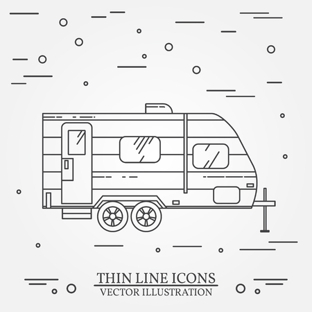 omnibus: RV camper trailer thin line. Camping RV trailer caravan outline icon. RV travel camper grey and white vector pictogram isolated on white. Summer camper family travel concept. Vector illustration.