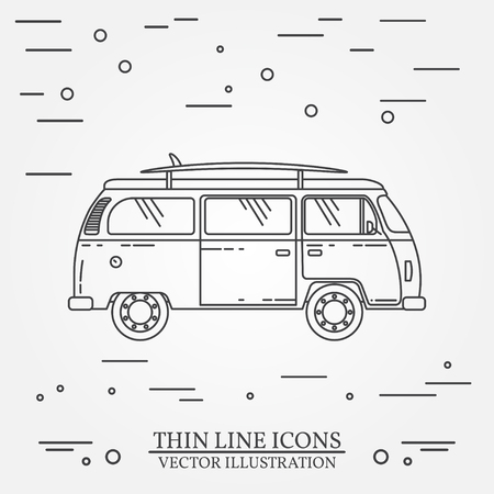 tourist bus: Travel bus family camper with surf board thin line. Traveler truck tourist bus outline icon. RV travel bus grey and white vector pictogram isolated on white. Summer bus family travel concept. Vector illustration. Illustration