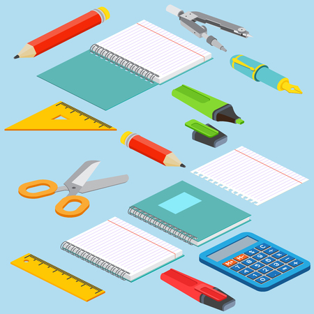 pair of scissors: Isometric illustration on a blue background with the image ruler, calculator, markerpen, pencil, pen, pencil, scissors, pair of compasses and open notepad. Vector illustration.