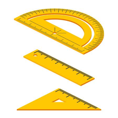objetos cuadrados: Conjunto de herramientas de medición: isométricos gobernantes, triángulos, transportador de ángulos. instrumentos de la escuela de vectores aislados sobre fondo blanco. Vectores